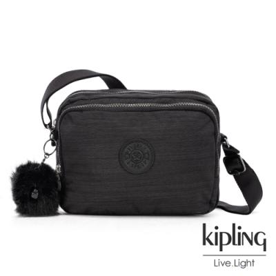 Kipling 沉靜黑素面雙層側背包-SILEN