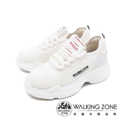 WALKING ZONE(女)網布綁帶休閒鞋老爹鞋 厚底鞋女鞋-白(另有黑)
