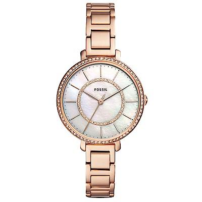 FOSSIL Jocelyn優雅晶鑽時尚手錶(ES4452)-珍珠貝X玫瑰金/36mm