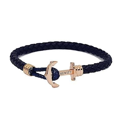 PAUL HEWITT德國出品 海軍藍皮革單圈編織 玫瑰金船錨 手環手鍊