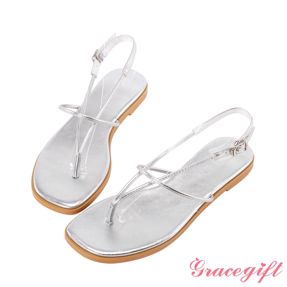 Grace gift-簡約V字細帶平底涼鞋 銀