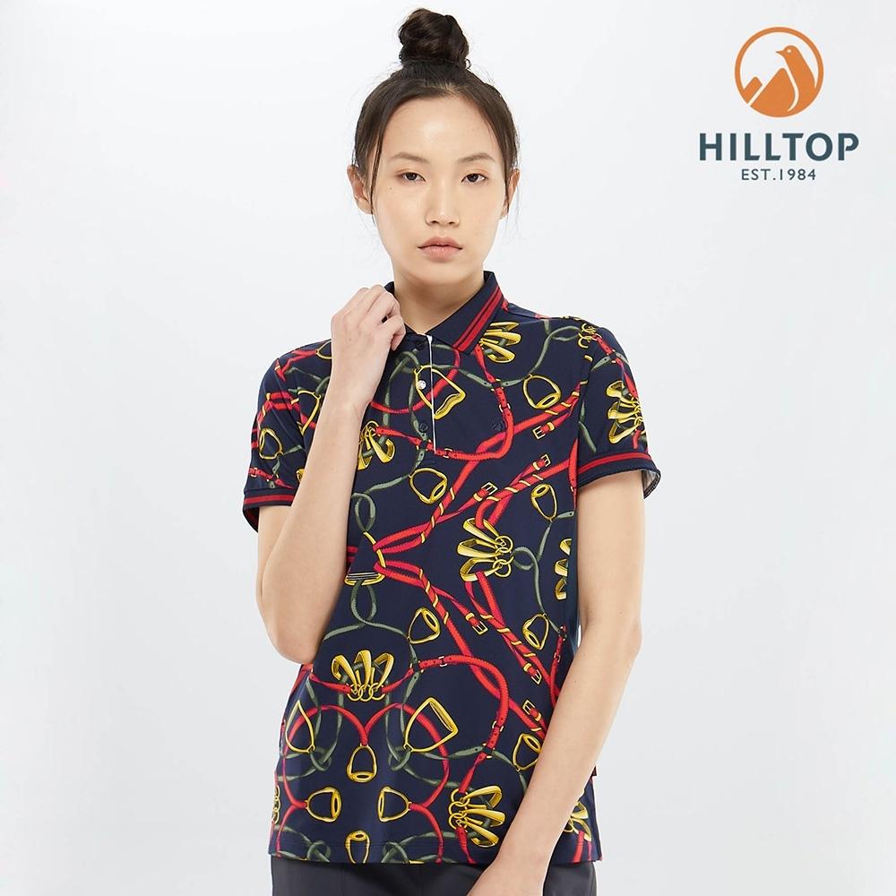 【hilltop山頂鳥】女款吸濕快乾抗UV抗菌POLO衫PS14XFG5ECEZ丈青色鎖鏈