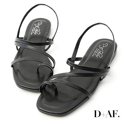 D+AF 夏日序曲.多條細帶軟墊平底涼鞋*黑