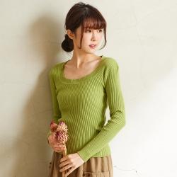 慢 生活 花邊領坑條針織上衣- 綠/紫