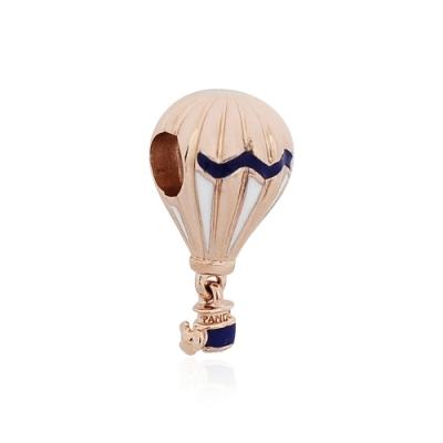 Pandora 潘朵拉 藍色玫瑰金熱氣球 垂墜純銀墜飾