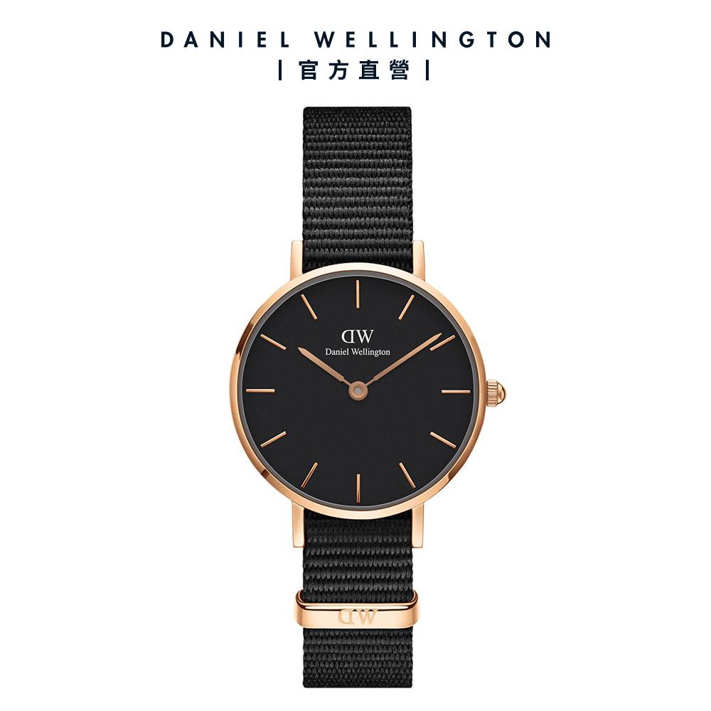 【Daniel Wellington】官方直營 Petite Cornwall 28mm寂靜黑織紋錶 DW手錶
