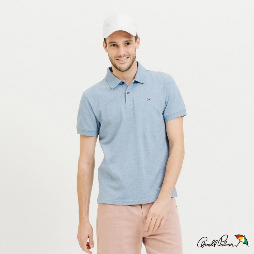 Arnold Palmer-男裝-經典花紗小傘彈性棉質POLO衫-藍