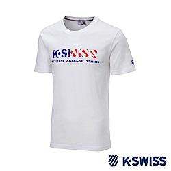 K-SWISS Shield Logo Sweatshorts印花短袖T恤-女-白