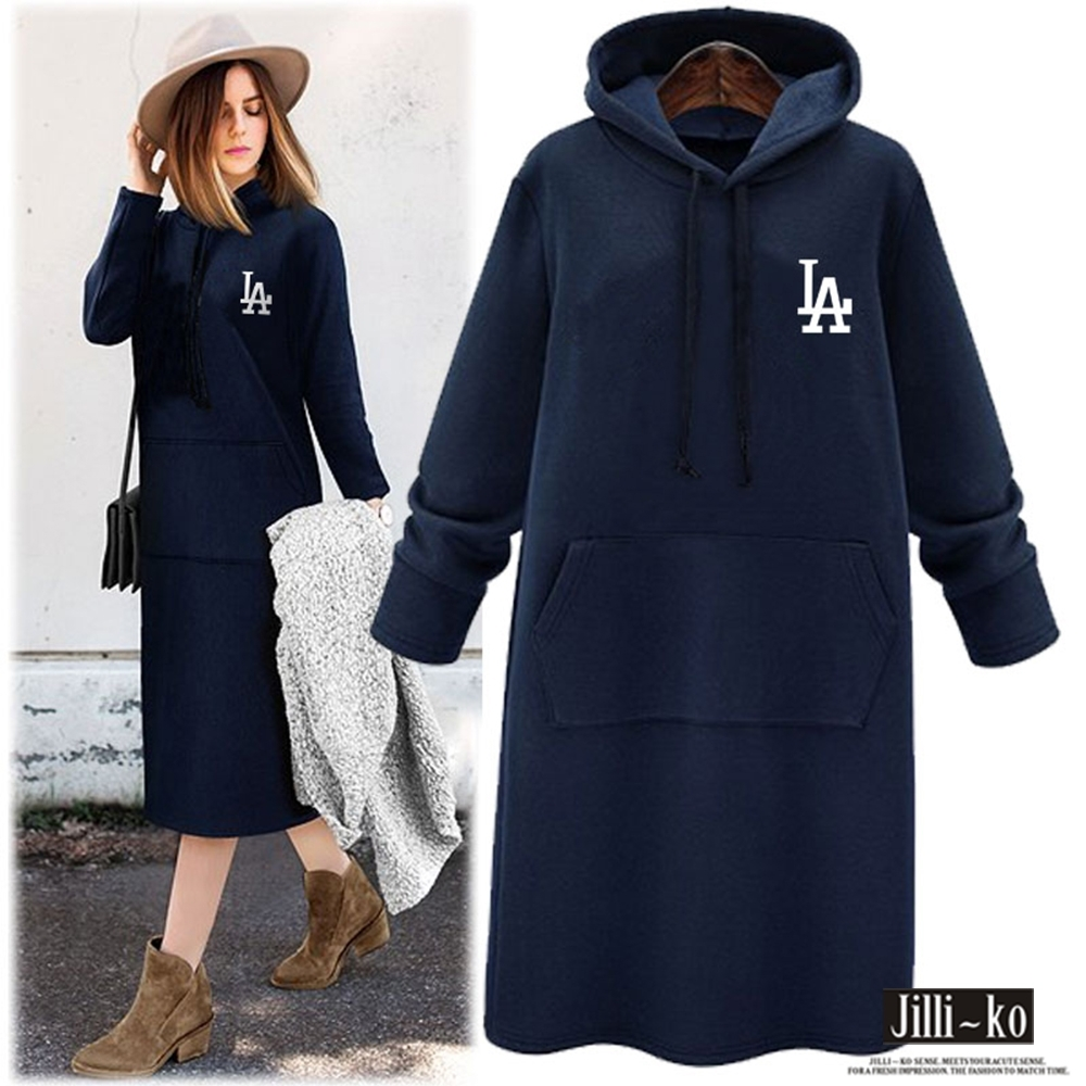 JILLI-KO 休閒連帽連身裙衛衣- 深藍 (深藍色系)