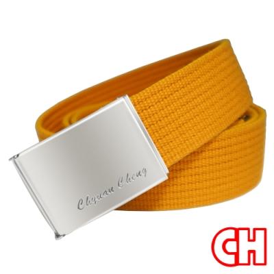CH-BELT亮眼織帶方頭造型中性皮帶腰帶(黃)