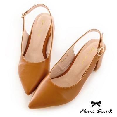 Mori girl復古微尖頭鞋後空中跟鞋 棕