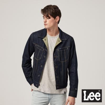 Lee 牛仔外套 101+雙面穿刺繡徽章 男 外藍 內綠