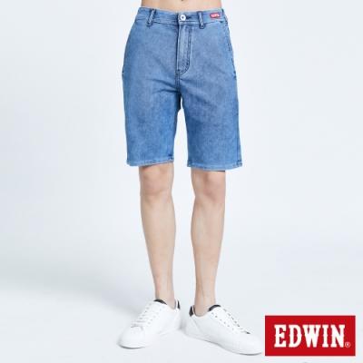 EDWIN JERSEYS 迦績 PK EJ2 透氣涼感紅標 牛仔短褲-男-拔淺藍