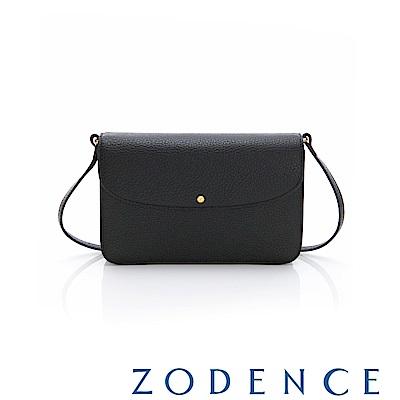 ZODENCE ERATO系列進口彩色牛皮圓蓋皮夾包(小)黑