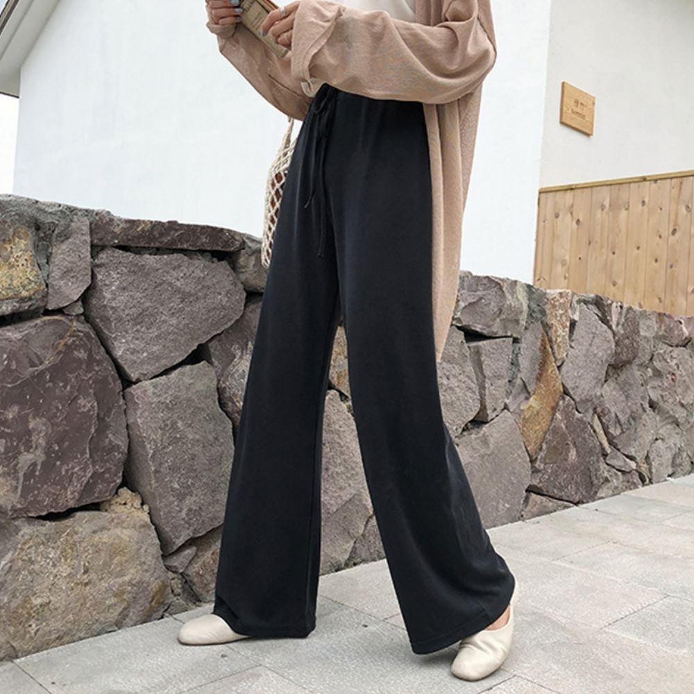 MOCO黑色鬆緊腰抽繩闊腿寬褲修飾大腿落地長褲L~4XL