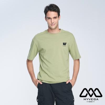 MYVEGA MAN日系夏季趣味印花寬鬆短袖T恤-綠