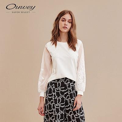 OUWEY歐薇 浪漫網紗蕾絲袖上衣(黑/白)