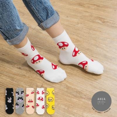 阿華有事嗎  韓國襪子 五隻卡通人物中筒襪  韓妞必備 正韓百搭純棉襪