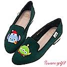 Disney collection by grace gift-造型絨布樂福鞋 墨綠