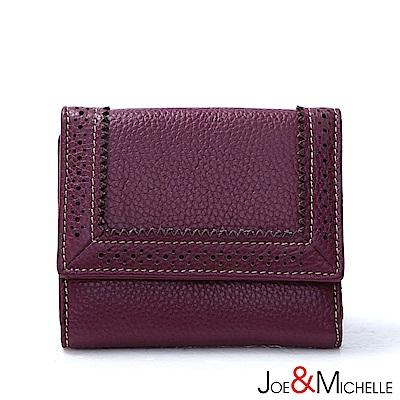 J&M 真皮克萊爾法式優雅三折短夾 羅蘭紫(快)