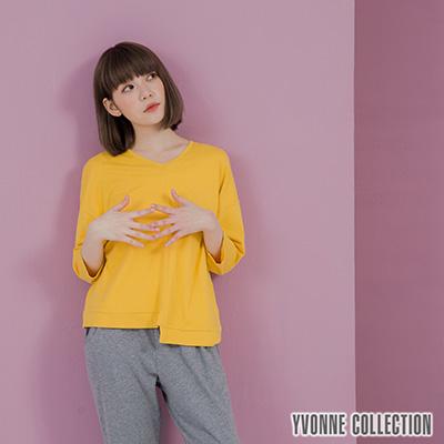YVONNE素面拼接V領七分袖上衣- 芥黃