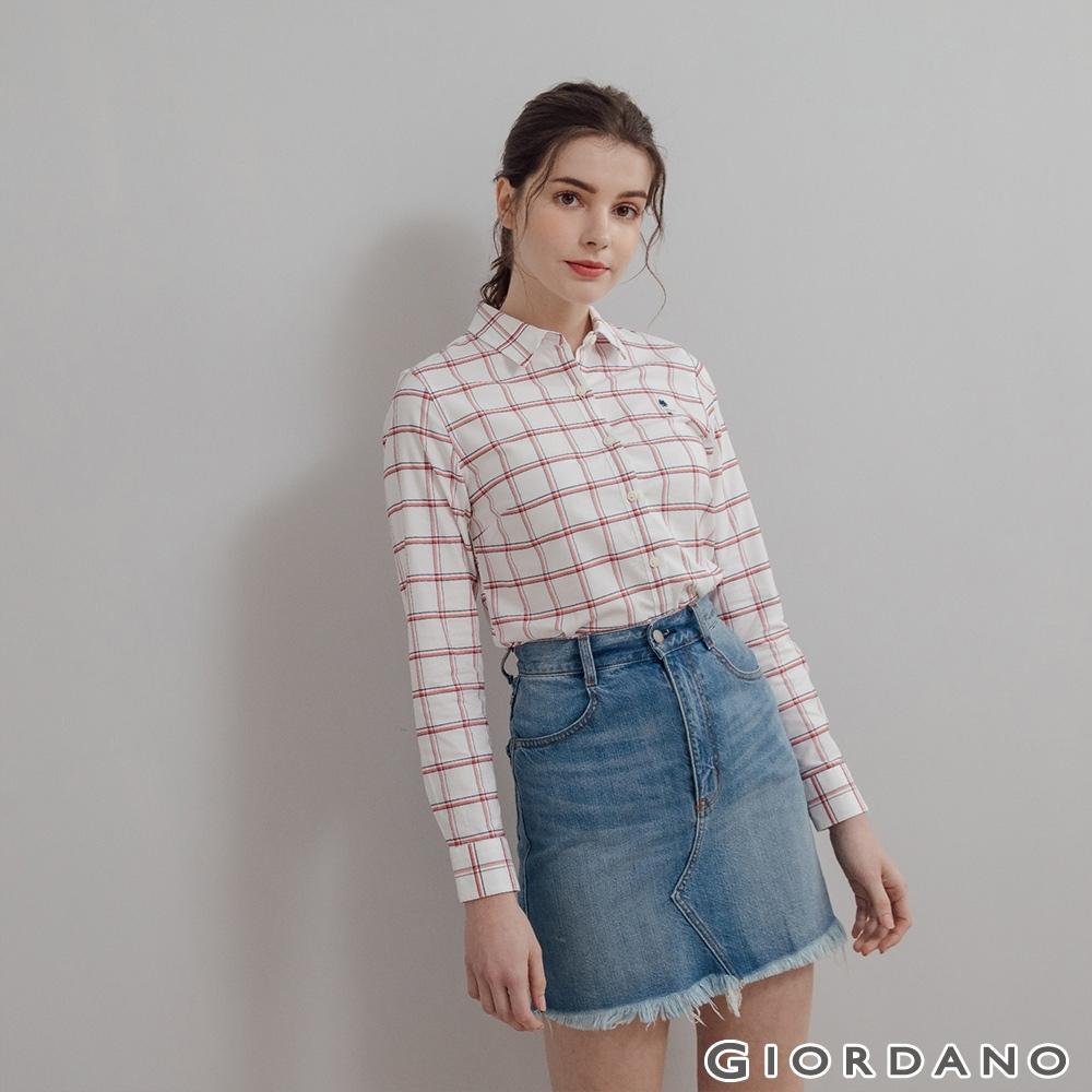 GIORDANO 女裝四季百搭彈力牛津紡襯衫 - 08 白/紅/藍格紋