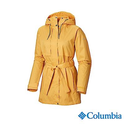 Columbia 哥倫比亞 女款-防小雨長版風雨衣-黃色 UWL01640