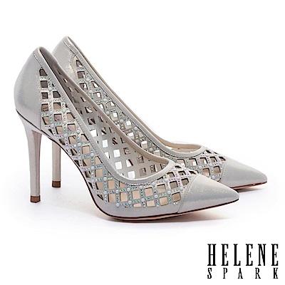 高跟鞋 HELENE SPARK 奢華迷人晶鑽珍珠菱格鏤空全真皮尖頭高跟鞋-金