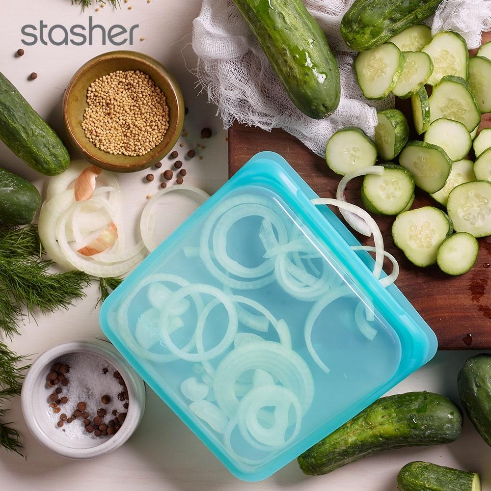 美國Stasher 方形環保按壓式矽膠密封袋-湖水藍(快)