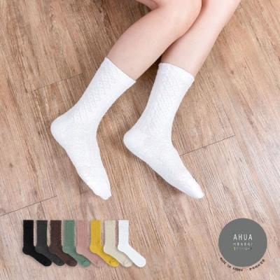 阿華有事嗎  韓國襪子 秋冬立體古典紋路中筒襪 韓妞必備 正韓百搭純棉襪