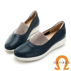 GEORGE 喬治皮鞋 真皮圓頭撞色厚底氣墊鞋-藍