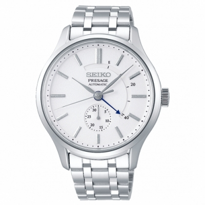 SEIKO 精工 Presage動力儲存顯示機械手錶SSA395J1-白X銀/42mm