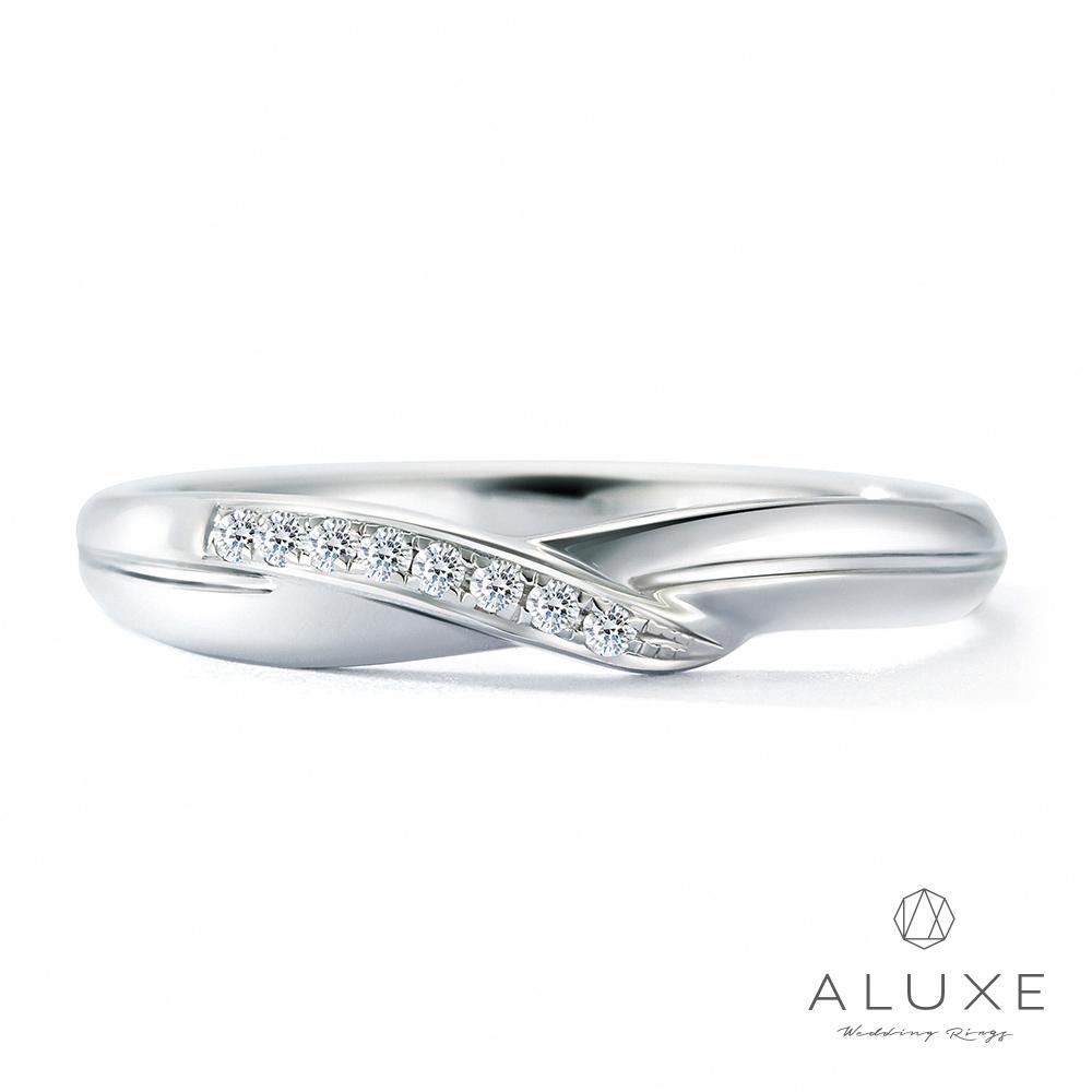 A-LUXE 亞立詩 18K金 鑽石情侶結婚戒指-女戒