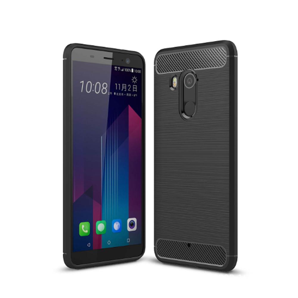 YANGYI揚邑 HTC U11+拉絲紋碳纖維軟殼散熱防震抗摔手機殼-黑