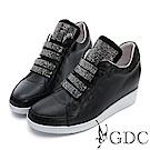 GDC-真皮高筒運動風滿版水鑽質感休閒鞋-黑色