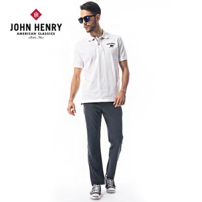 【JOHN HENRY】美式旗幟刺繡短袖POLO衫-白
