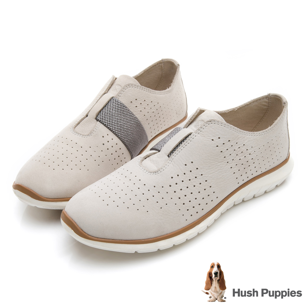 Hush Puppies TRICIA 冬感皮革健走鞋-米白