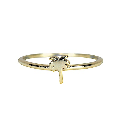 Pura Vida 美國手工 魅力棕櫚造型金色戒指