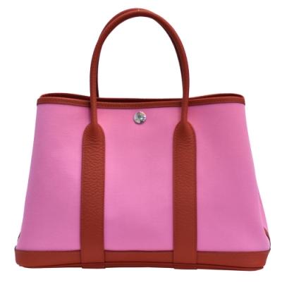 HERMES 經典GARDEN PARTY 30系列手提購物包(粉紅30cm)