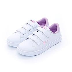 FILA 韓版魔鬼氈復古小白鞋(女)-白紫