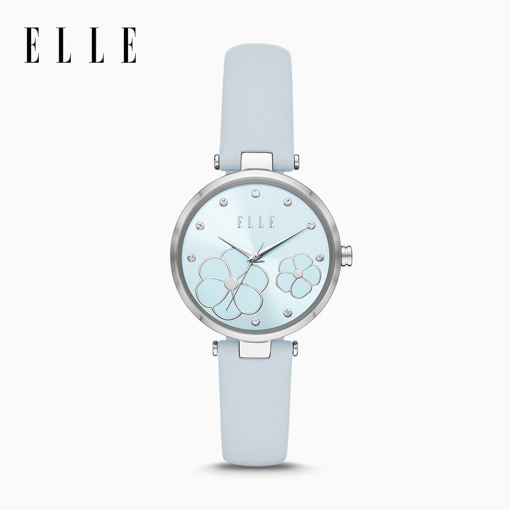 ELLE Orsay 奧塞小花園腕錶 夢幻銀X藍皮革錶帶 32mm ELL25032