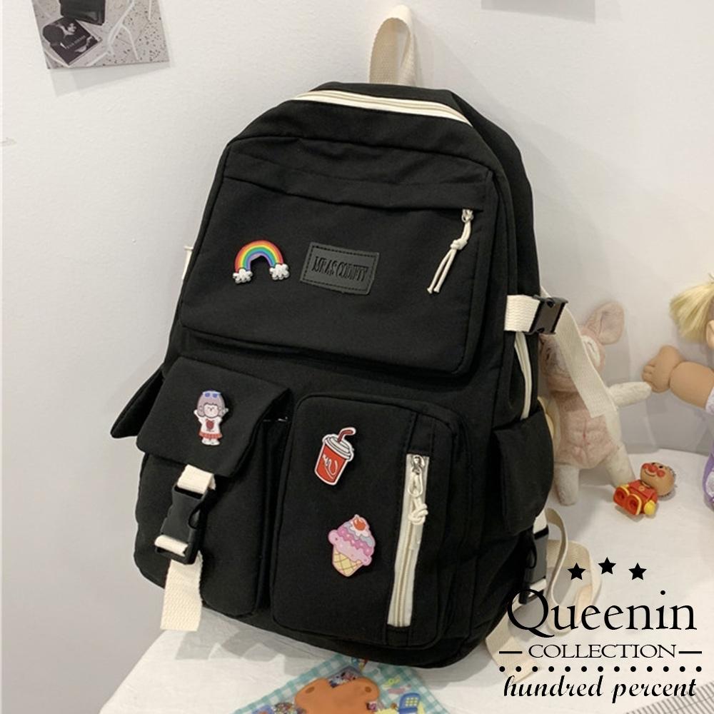DF Queenin - 日系森林文青女高中生熱銷款可愛後背包(無吊飾徽章)-共3色