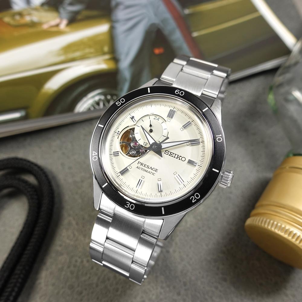 SEIKO 精工PRESAGE 鏤空 機械錶 自動上鍊 不鏽鋼手錶-銀白色/41mm