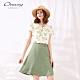 OUWEY歐薇 亮麗花朵印花雪紡假兩件洋裝(綠) product thumbnail 1
