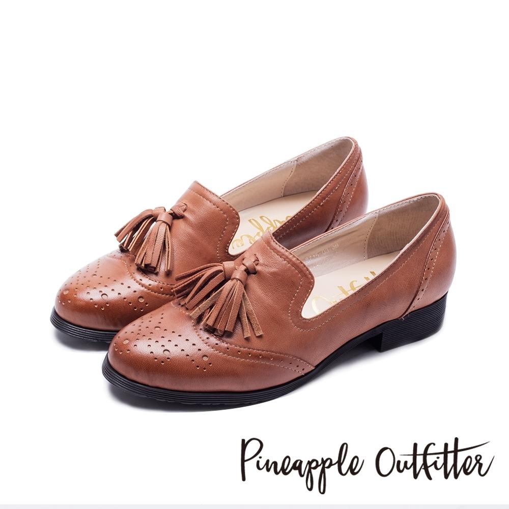 Pineapple Outfitter 牛津皮革流蘇樂福平底鞋-棕色