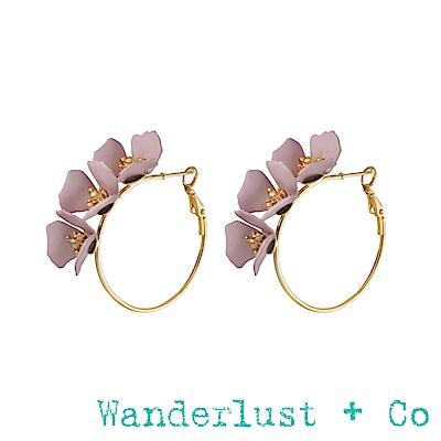 Wanderlust+Co 花草圓圈耳環 - 浪漫粉