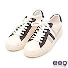 ee9 潮流質感異材質併接綁帶平底休閒鞋 灰色