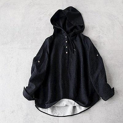 寬鬆棉麻波點連帽衛衣長袖套頭上衣-設計所在