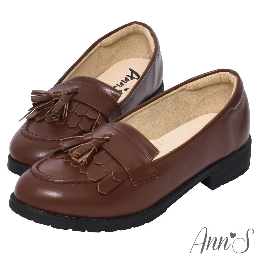 Ann'S私底下的穿搭-流蘇QQ軟底素面紳士鞋-棕(版型偏小)