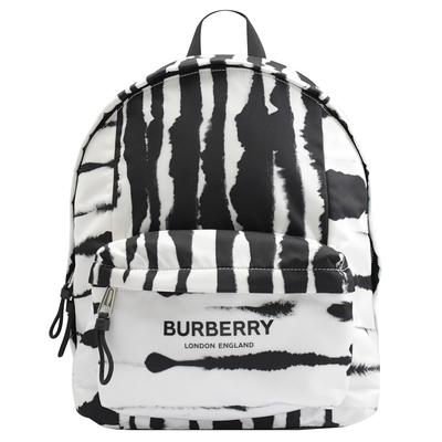 BURBERRY 水彩暈染斑馬紋尼龍拉鍊後背包(黑白)